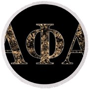 Alpha Phi Alpha - Black Round Beach Towel by Stephen Younts