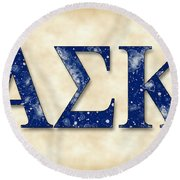 Alpha Sigma Kappa - Parchment Round Beach Towel by Stephen Younts