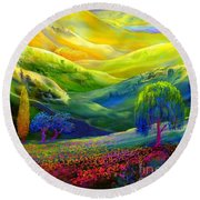 Wildflower Meadows, Amber Skies Round Beach Towel by Jane Small