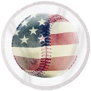 American Baseball Round Beach Towel by Terry DeLuco