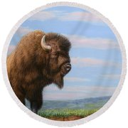 American Bison Round Beach Towel by James W Johnson