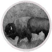 Monochrome American Buffalo 3  Round Beach Towel by Hailey E Herrera