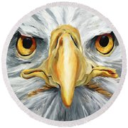 American Eagle - Bald Eagle By Betty Cummings Round Beach Towel by Sharon Cummings