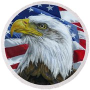 American Eagle Round Beach Towel by Sarah Batalka
