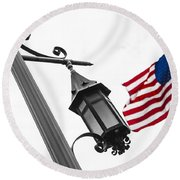 American Flag And Pole Round Beach Towel by John McGraw