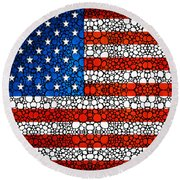American Flag - Usa Stone Rock'd Art United States Of America Round Beach Towel by Sharon Cummings