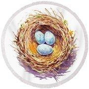 American Robin Nest Round Beach Towel by Irina Sztukowski