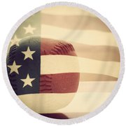 Americana Baseball  Round Beach Towel by Terry DeLuco