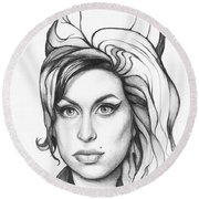 Amy Winehouse Round Beach Towel by Olga Shvartsur