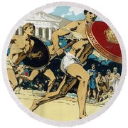 Ancient Olympic Games  The Relay Race Round Beach Towel by Unknown