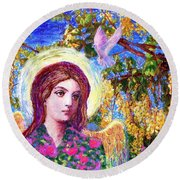 Angel Love Round Beach Towel by Jane Small