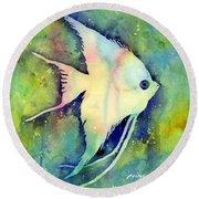 Angelfish I Round Beach Towel by Hailey E Herrera