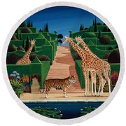 Animal Garden Round Beach Towel by Anthony Southcombe
