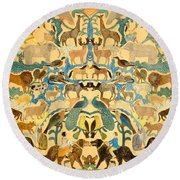 Antique Cutout Of Animals  Round Beach Towel by American School