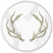 Antlers Round Beach Towel by Randoms Print