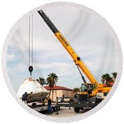 Round Beach Towel featuring the photograph Apollo Capsule Going In For Repairs by Science Source