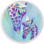 Aqua And Purple Loving Giraffes Round Beach Towel by Jane Schnetlage