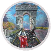 Arc De Triomphe Round Beach Towel by Alana Meyers