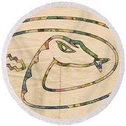 Arizona Diamondbacks Logo Vintage Round Beach Towel by Florian Rodarte