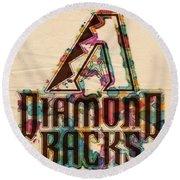 Arizona Diamondbacks Poster Vintage Round Beach Towel by Florian Rodarte