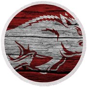 Arkansas Razorbacks On Wood Round Beach Towel by Dan Sproul