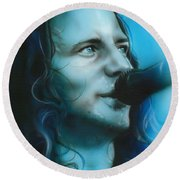 Eddie Vedder - ' Arms Raised In A V ' Round Beach Towel by Christian Chapman Art