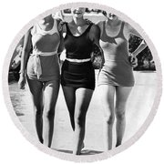 Army Bathing Suit Trio Round Beach Towel by Underwood Archives