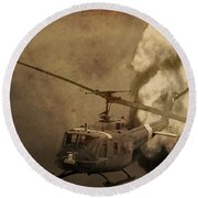 Army Helicopter Explosion Round Beach Towel by Dan Sproul
