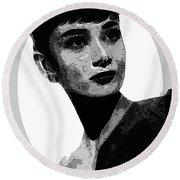 Audrey Hepburn - Pencil Round Beach Towel by Doc Braham
