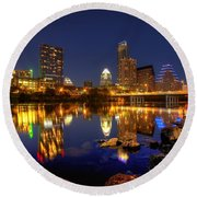Austin On The Rocks Round Beach Towel by Dave Files