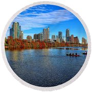 Austin Skyline Painted Round Beach Towel by Judy Vincent