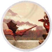 Autumn Dragons Round Beach Towel by Daniel Eskridge