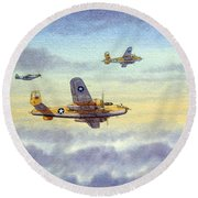 B-25 Mitchell Round Beach Towel by Bill Holkham