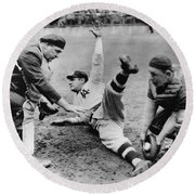 Babe Ruth Slides Home Round Beach Towel by Underwood Archives