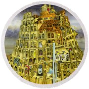 Babel Round Beach Towel by Colin Thompson