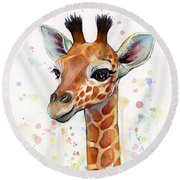 Baby Giraffe Watercolor  Round Beach Towel by Olga Shvartsur