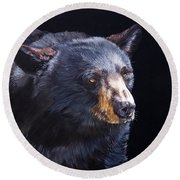 Back In Black Bear Round Beach Towel by J W Baker