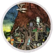 Back To Your Roots Round Beach Towel by Colin Thompson
