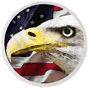 Bald Eagle Art - Old Glory - American Flag Round Beach Towel by Sharon Cummings