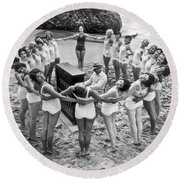 Ballet Rehearsal On The Beach Round Beach Towel by Underwood Archives