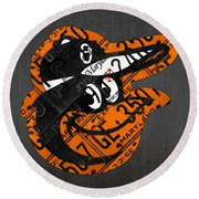 Baltimore Orioles Vintage Baseball Logo License Plate Art Round Beach Towel by Design Turnpike