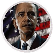 Barack Obama Round Beach Towel by Andre Koekemoer