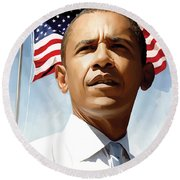 Barack Obama Artwork 1 Round Beach Towel by Sheraz A