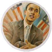 Barack Obama Taking It Easy Round Beach Towel by Miki De Goodaboom