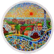 Barcelona View At Sunrise - Park Guell  Of Gaudi Round Beach Towel by Ana Maria Edulescu