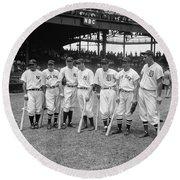 Baseball All Star Sluggers Round Beach Towel by Underwood Archives