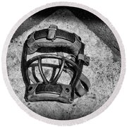 Baseball Catchers Mask Vintage In Black And White Round Beach Towel by Paul Ward