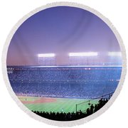 Baseball, Cubs, Chicago, Illinois, Usa Round Beach Towel by Panoramic Images