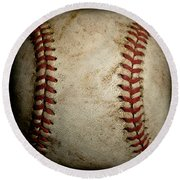 Baseball Seams Round Beach Towel by David Patterson