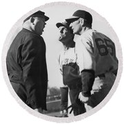 Baseball Umpire Dispute Round Beach Towel by Underwood Archives